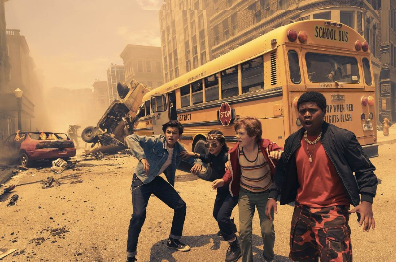 Alessio Scalzotto, Miya Cech, Jack Gore and Benjamin Flores Jr. in Rim of the World (2019)