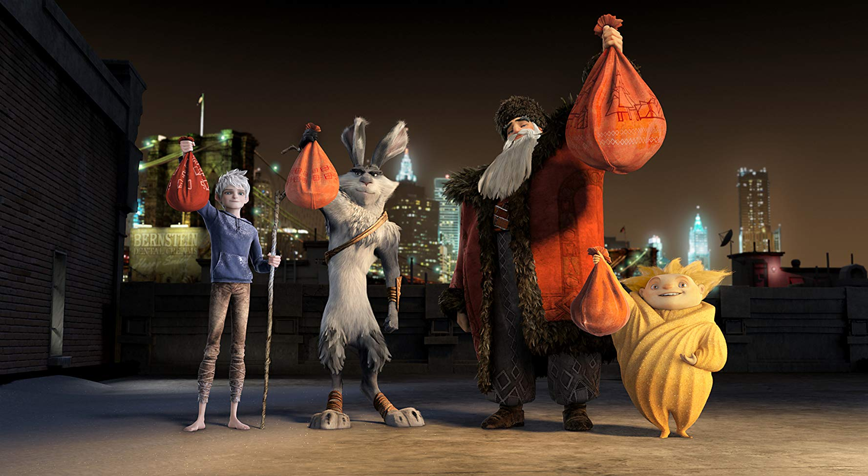 Character line-up - Jack Frost (voiced by Chris Pine), Easter Bunny (voiced by Hugh Jackman), North (voiced by Alec Baldwin) and Sandy in Rise of the Guardians (2012)