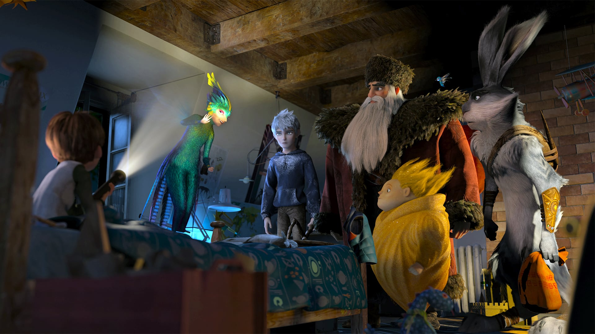 A child visited by Tooth Fairy (voiced by Isla Fisher), Jack Frost (voiced by Chris Pine), North (voiced by Alec Baldwin), Sandy and Easter Bunny (voiced by Hugh Jackman) in Rise of the Guardians (2012)