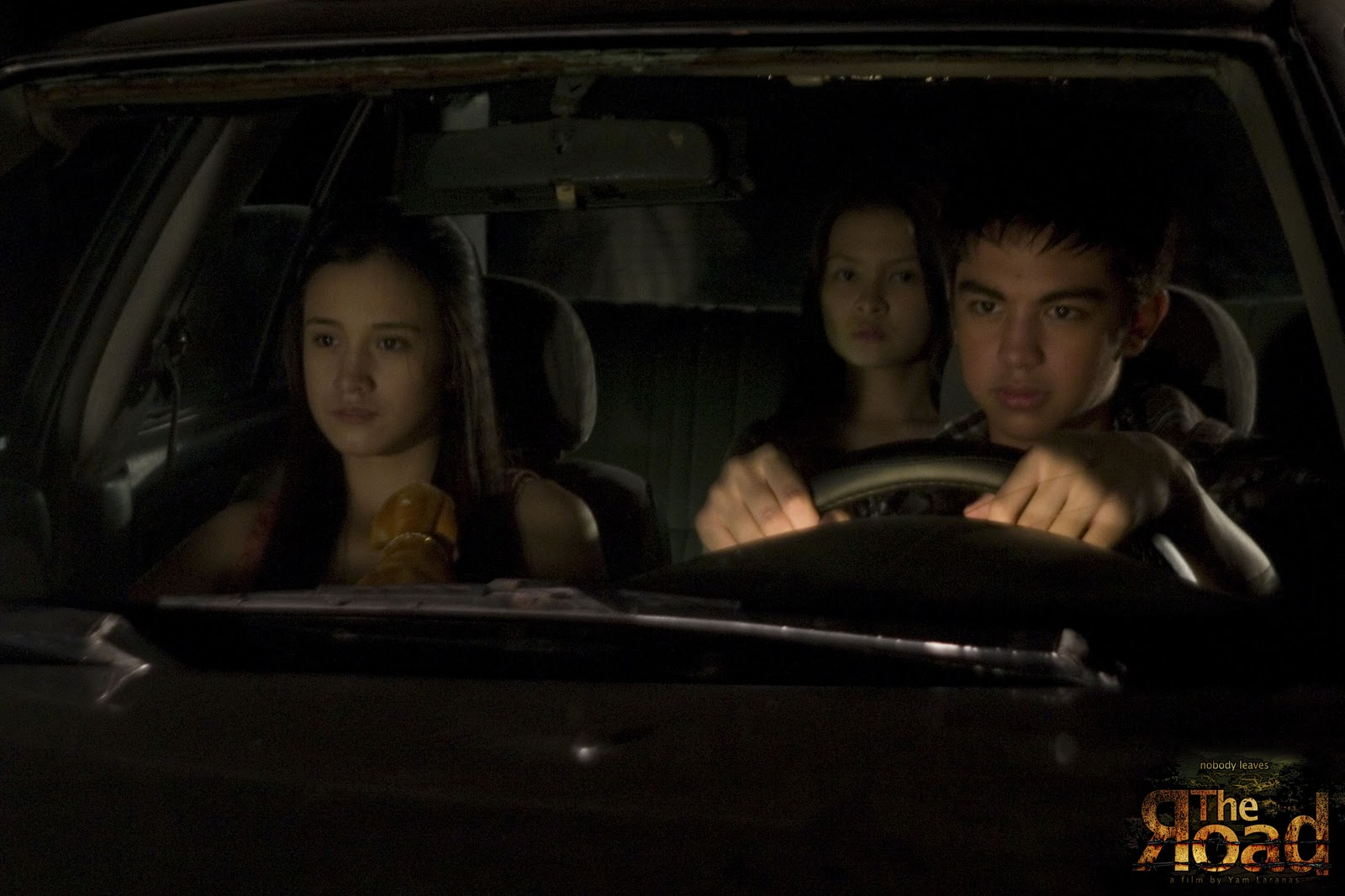 Lexi Fernandez, Barbie Forteza and Derrick Montaserio drive down  in The Road (2011)