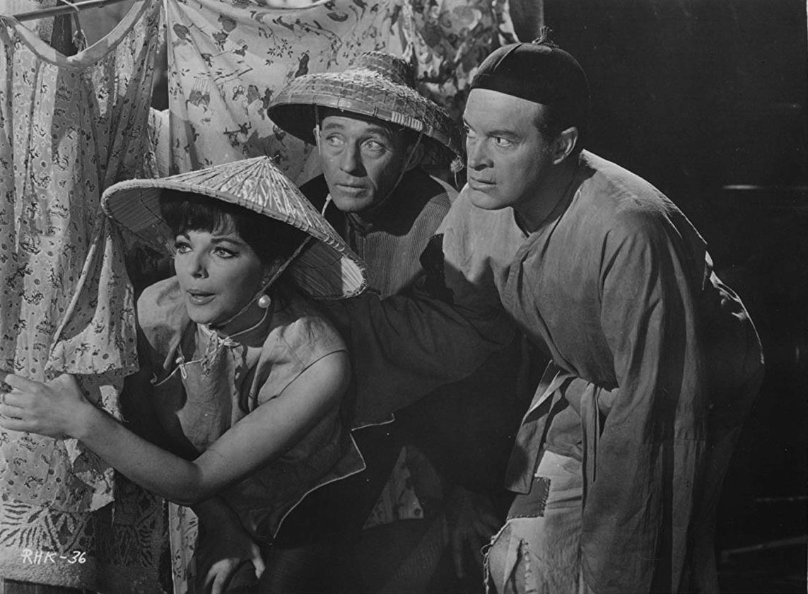 Joan Collins, Bing Crosby, Bob Hope in The Road to Hong Kong (1962)