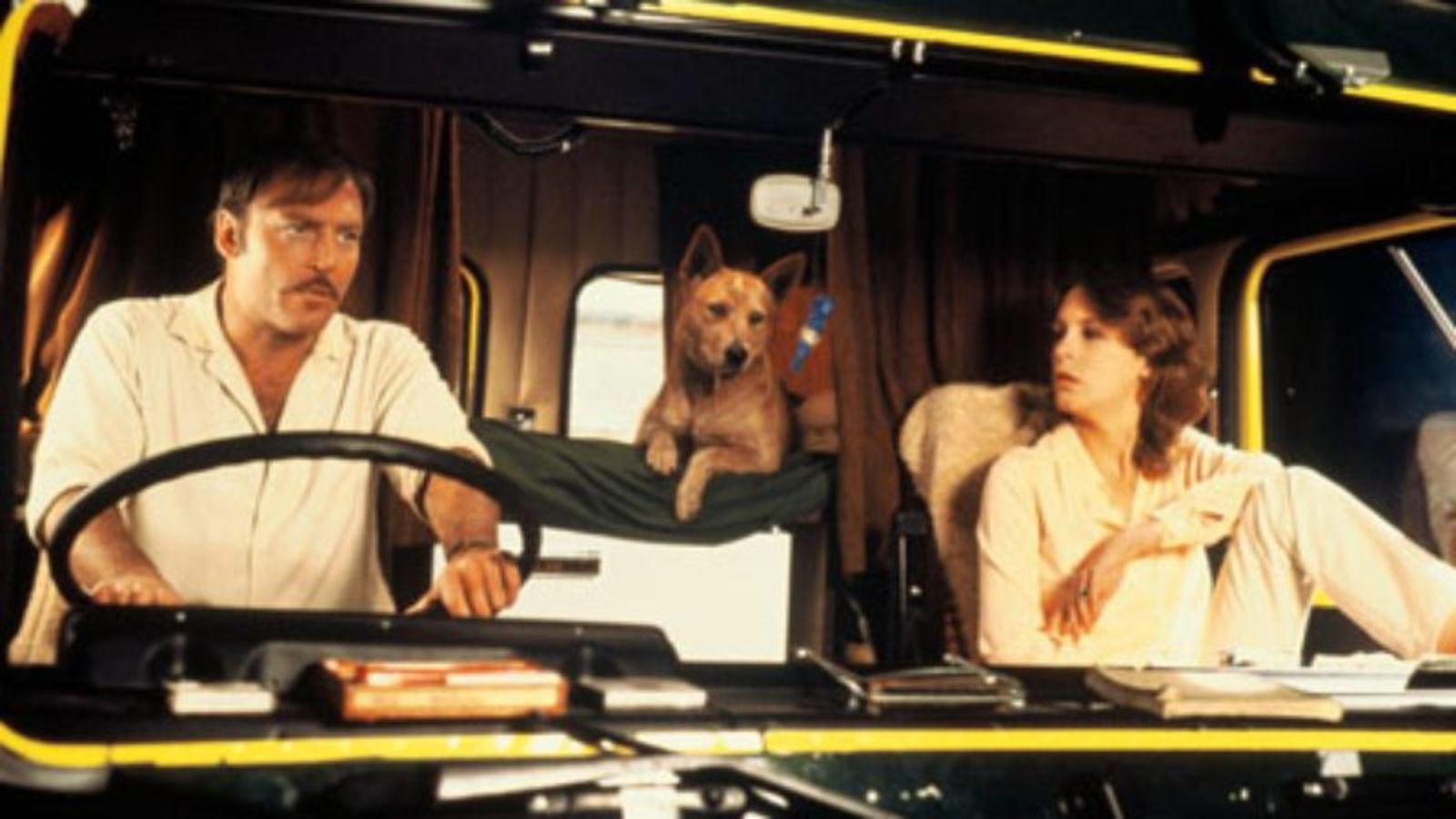 Truck driver Patrick Quid (Stacy Keach) and hitch-hiker Jamie Lee Curtis in Roadgames (1981)