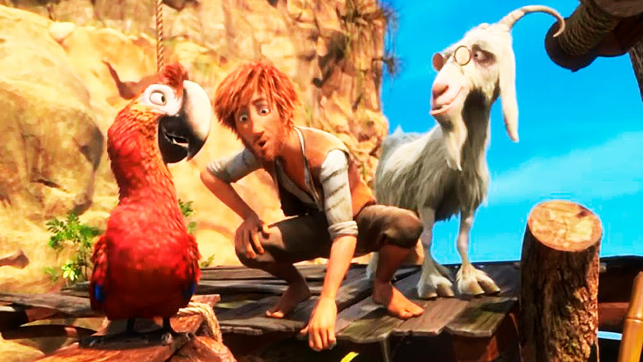 Robinson Crrusoe (voiced by Yuri Lowenthal) with Mak the parrot (voiced by David Howard) and Scrubby the goat (voiced by Joey Carmen) in Robinson Crusoe (2016)