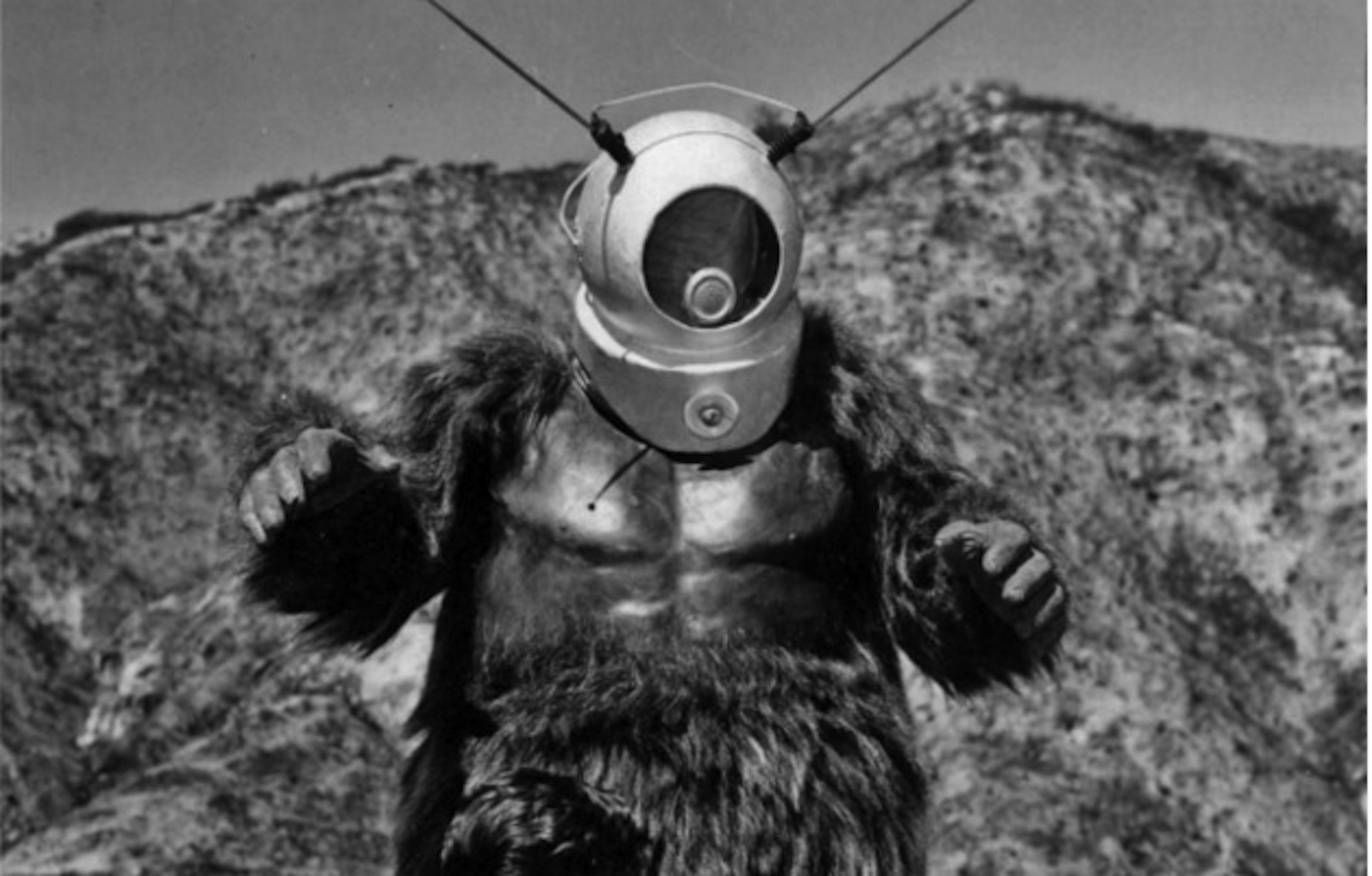 The Ro-Man (George Barrows) consisting of a gorilla suit with diving helmet in Robot Monster (1953)