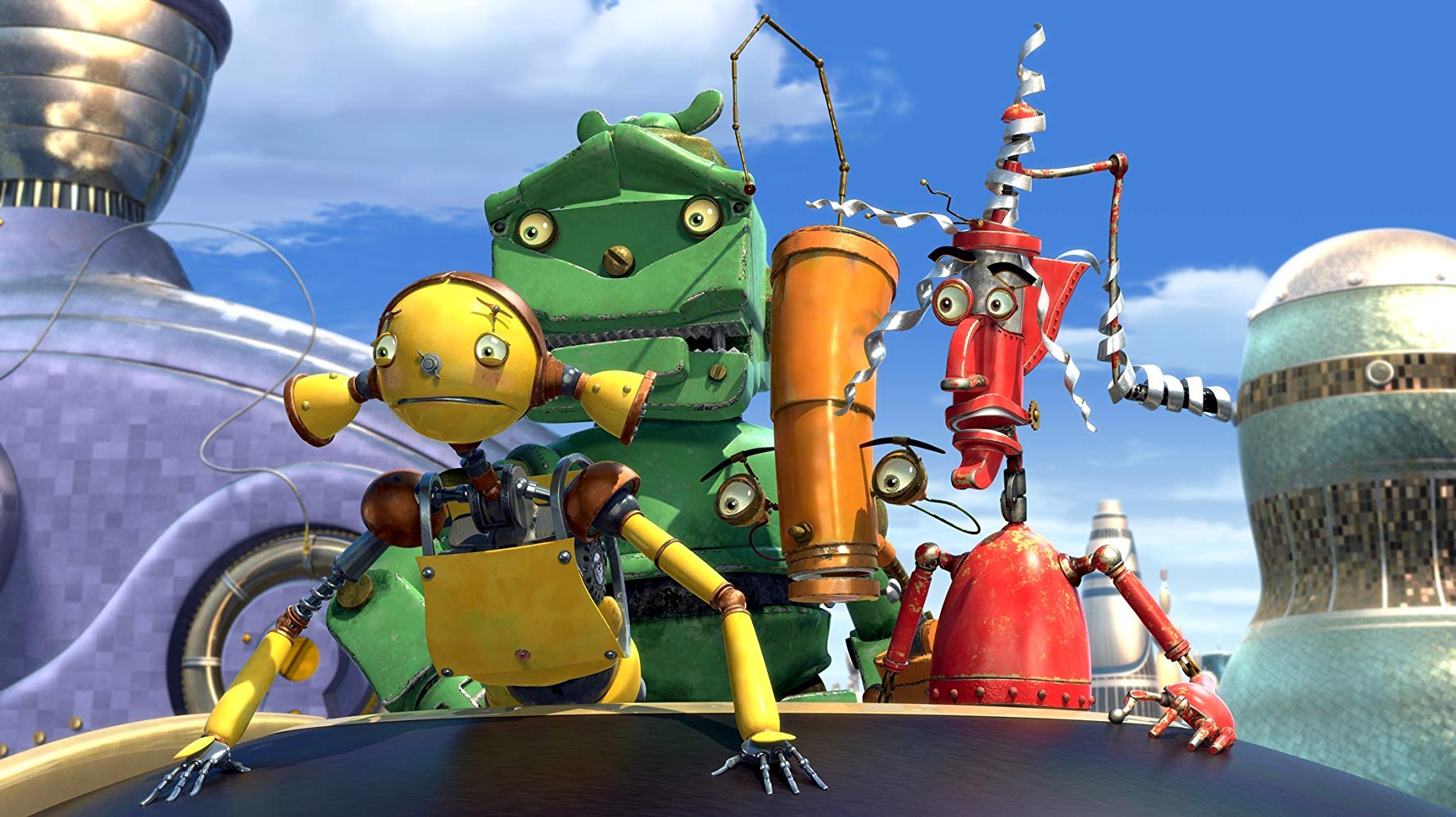 (l to r) Piper (voiced by Amanda Bynes), Lug (voiced by Harland Williams), Crank (voiced by Drew Carey) and Fender (voiced by Robin Williams) in Robots (2005)