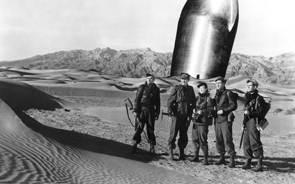 The astronauts on the surface of Mars in Rocketship X-M (1950)