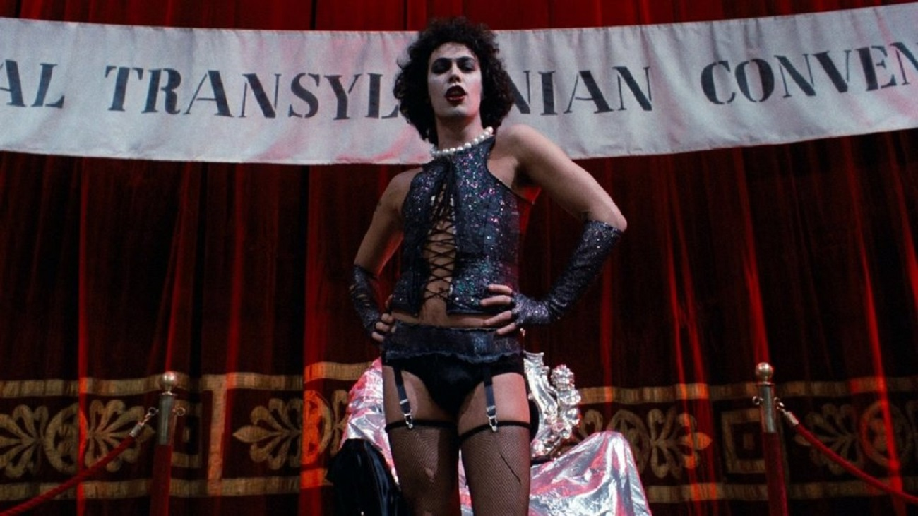 Tim Curry in his iconic role as the cross-dressing mad scientist Dr Frank N. Furter in The Rocky Horror Picture Show (1975)