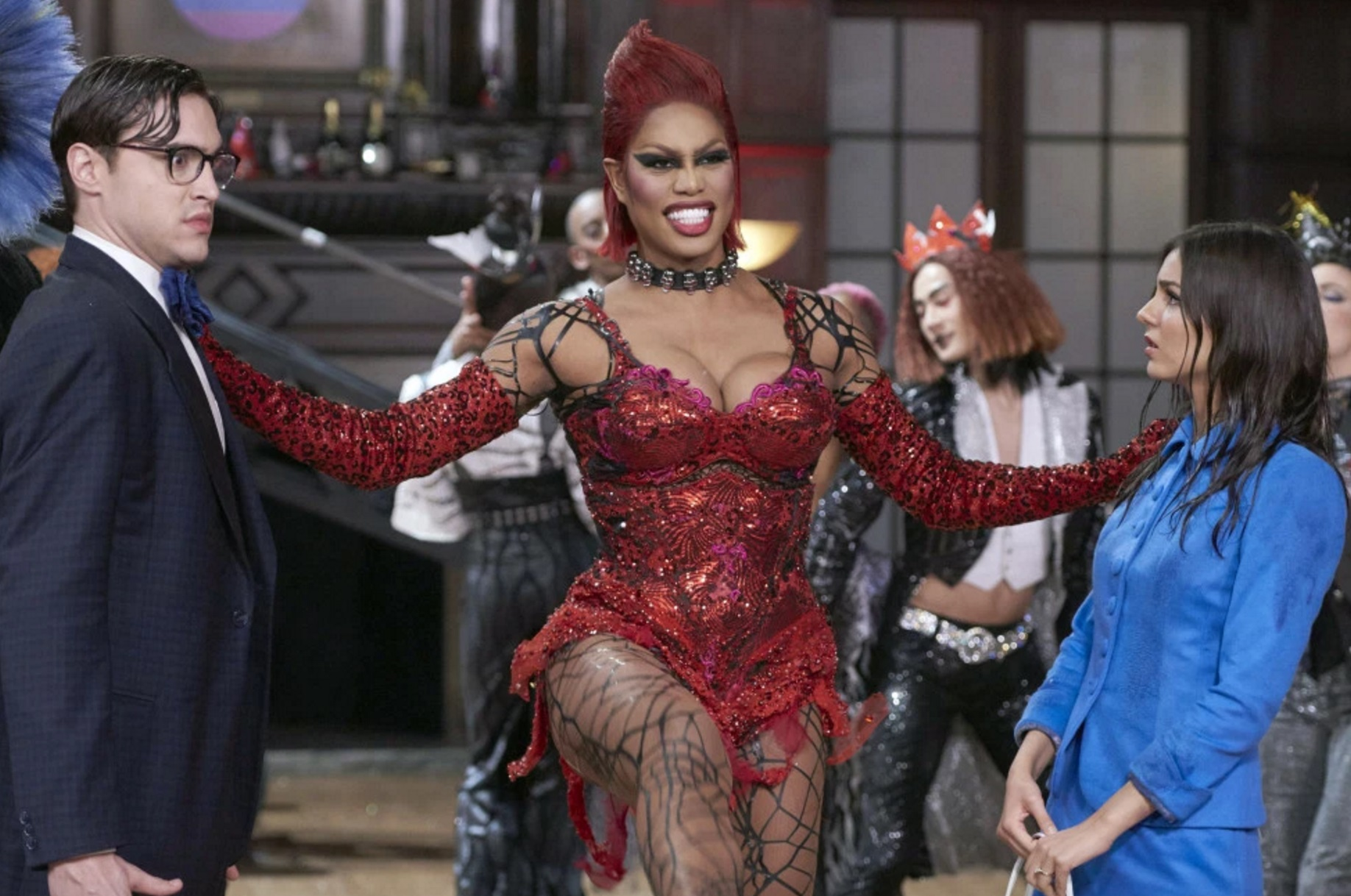 Dr Frank N. Furter (Laverne Cox) greets Brad (Ryan McCartan) and Janet (Victoria Justice) in The Rocky Horror Picture Show Let's Do the Timewarp Again (2016)