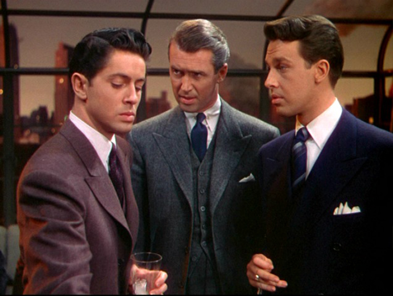 Professor James Stewart pieces together what his students Farley Granger and John Dall have done in Rope (1948)