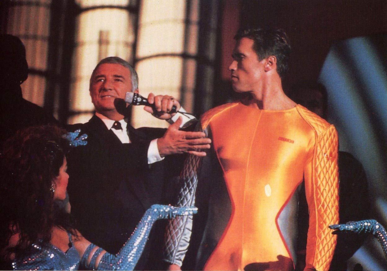 Richard Dawson introduces Arnold Schwarzenegger on The Running Man (1987