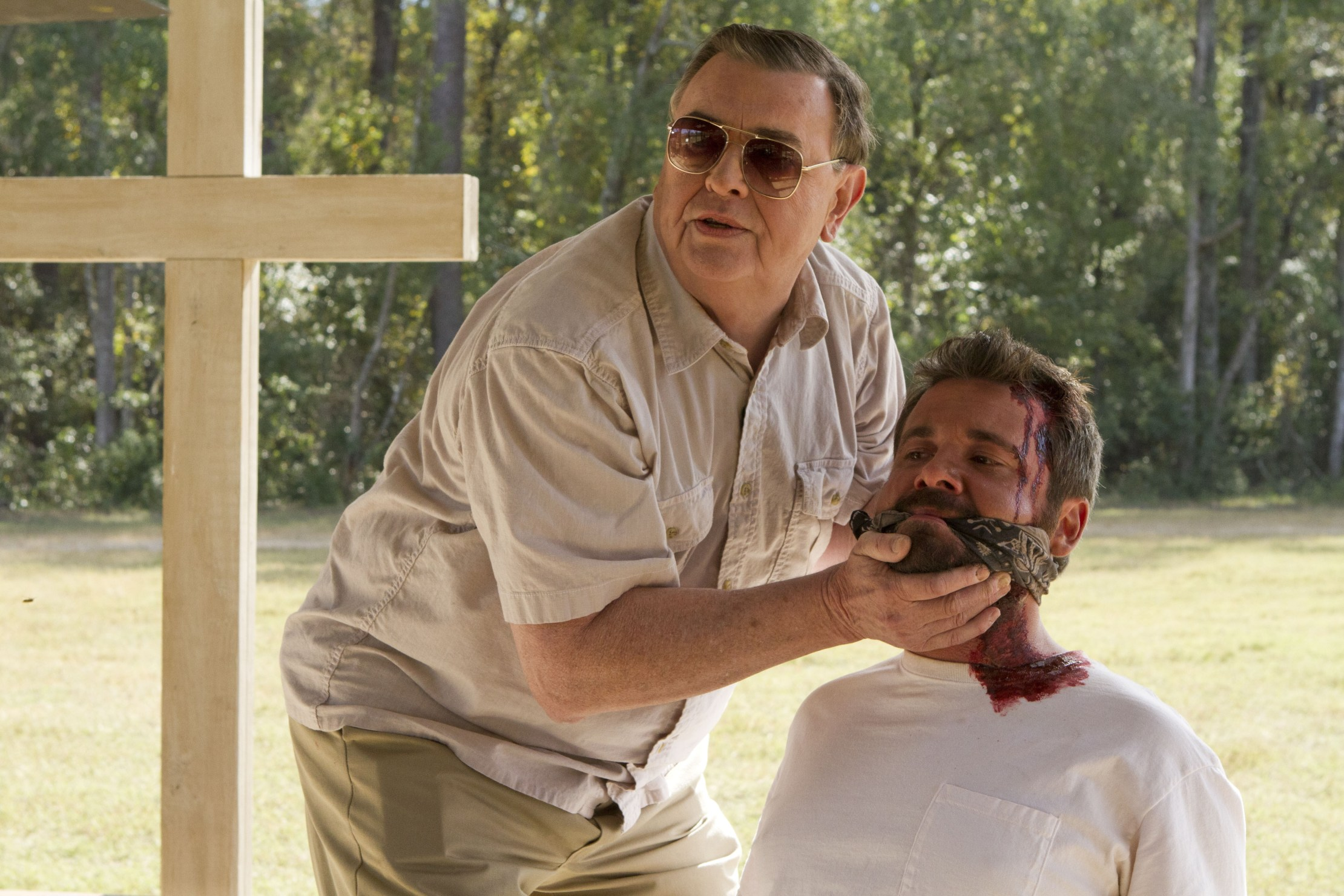 Gene Jones and A,J. Bowen in The Sacrament (2013)