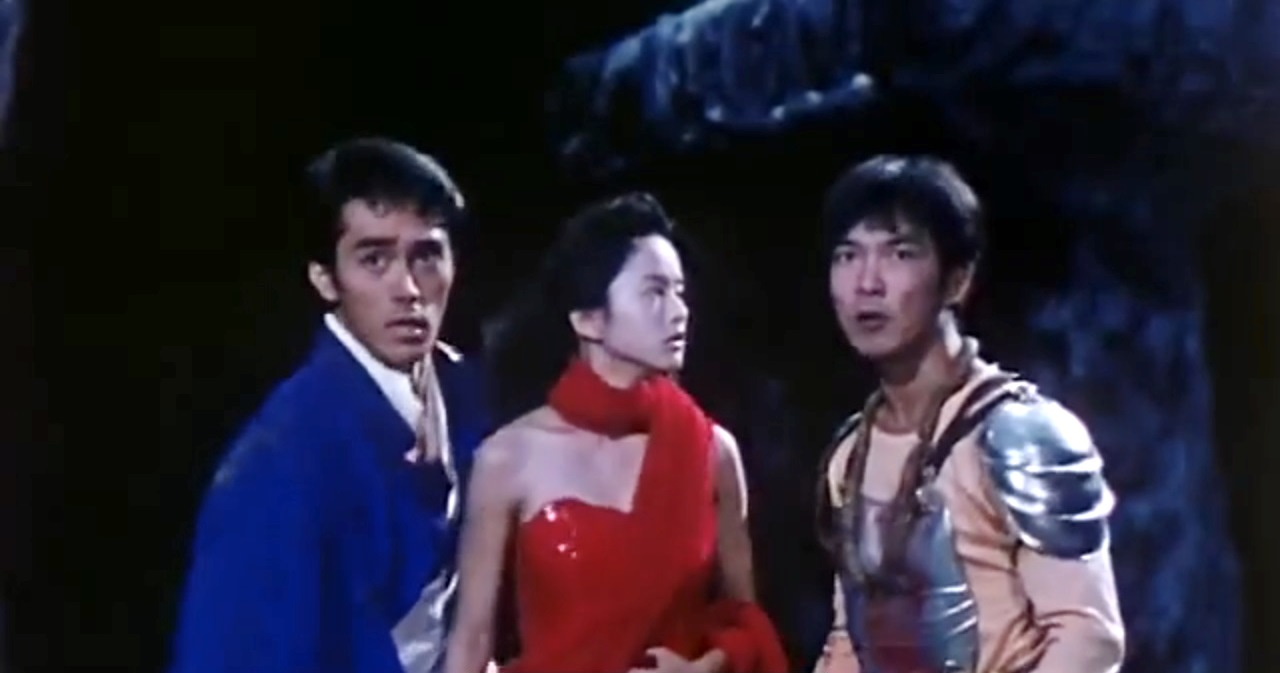 Lucky Fruit (Hiroshi Abe). Ashura (Gloria Yip) and Peacock (Yuen Biao) in Saga of the Phoenix (1990)