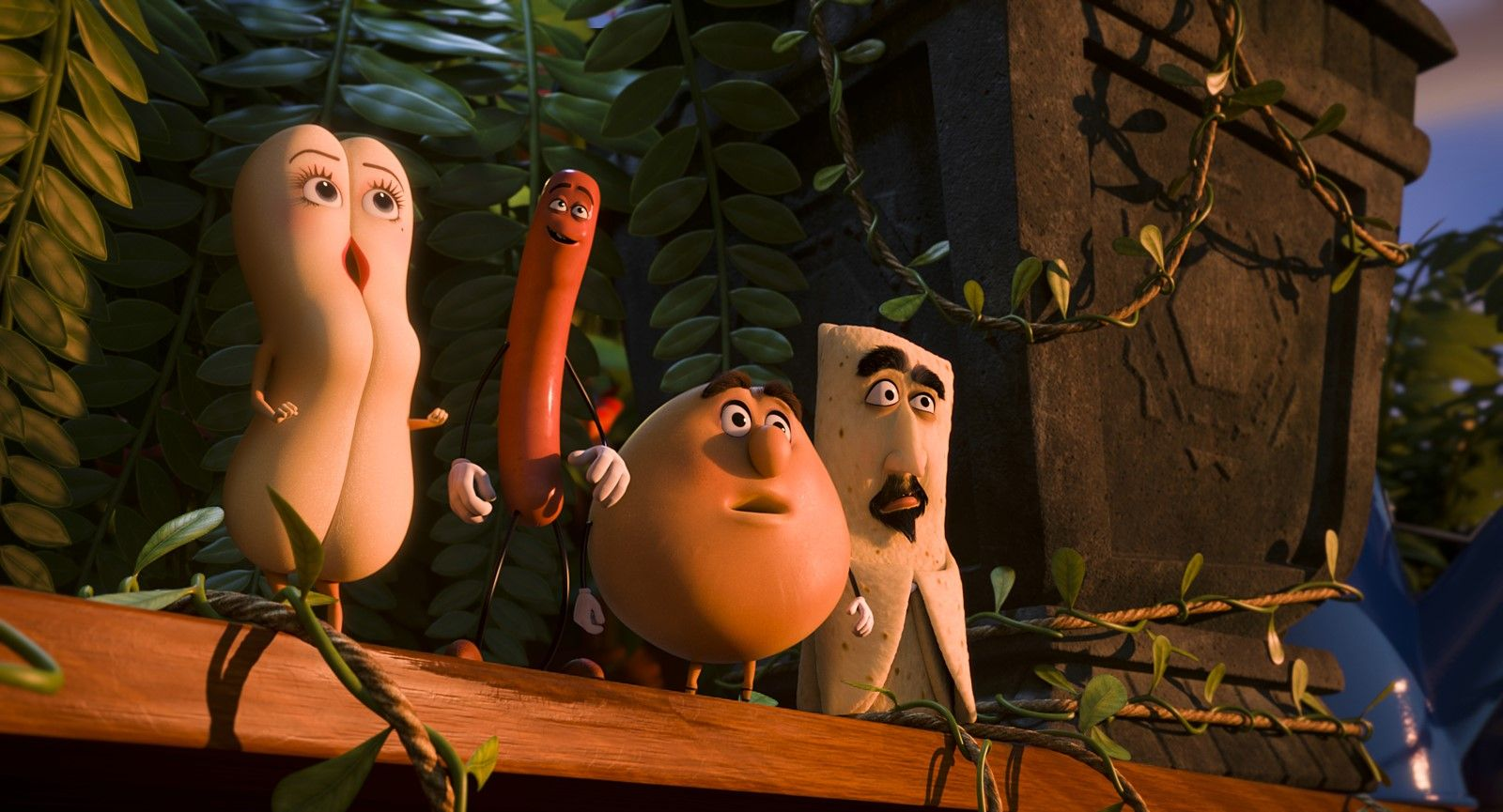 (l to r) Brenda the hot dog bun (voiced by Kristen Wiig), Frank the sausage (voiced by Seth Rogen), Sammy Bagel Jr (voiced by Edward Norton) and Kareem Abdul Lavash (voiced by David Krumholtz) in Sausage Party (2016)