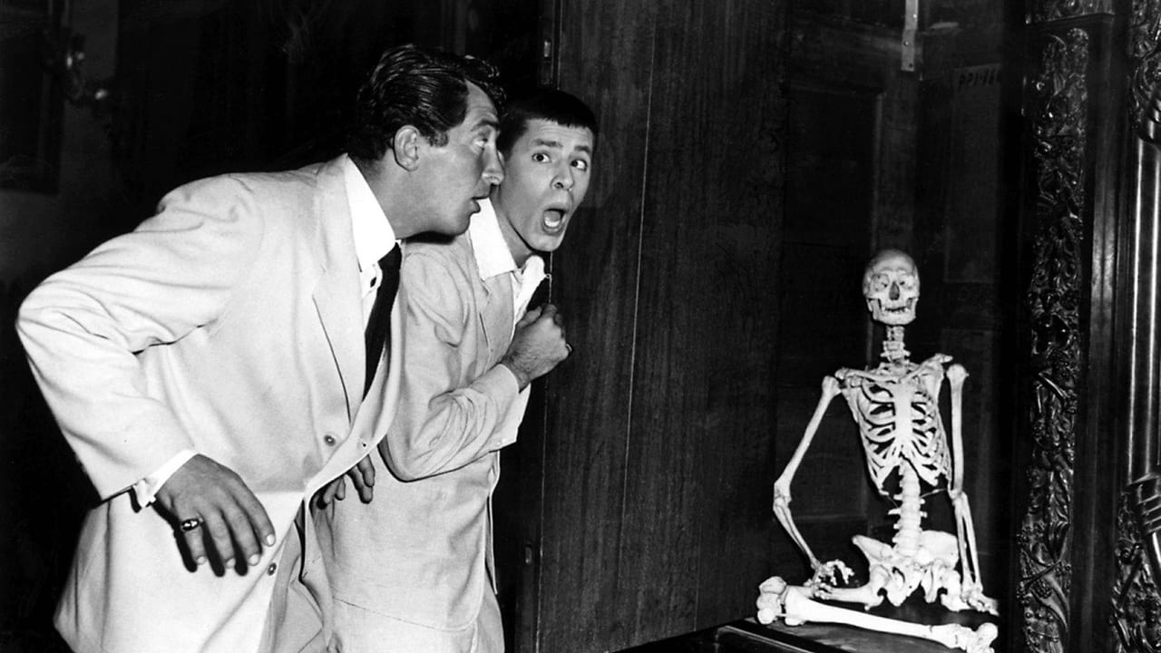 Dean Martin and Jerry Lewis encounter a skeleton in Scared Stiff (1953)