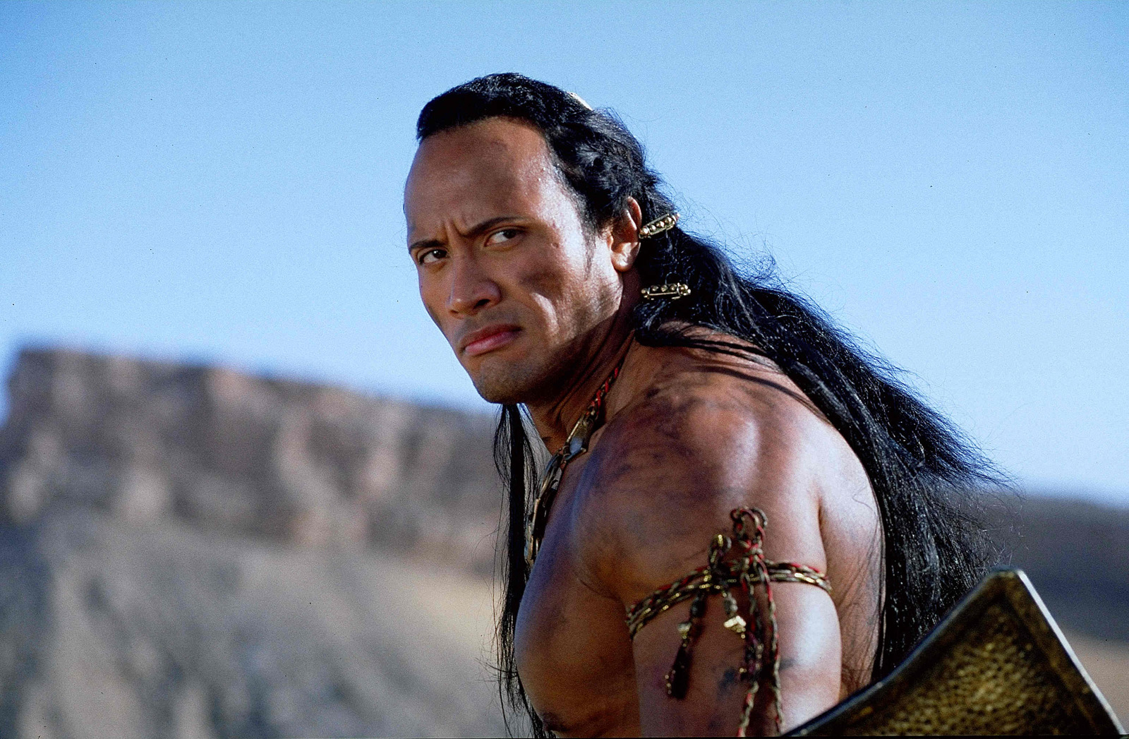 Dwayne Johnson back when he was billing himself as The Rock as Mathayus The Scorpion King (2002)