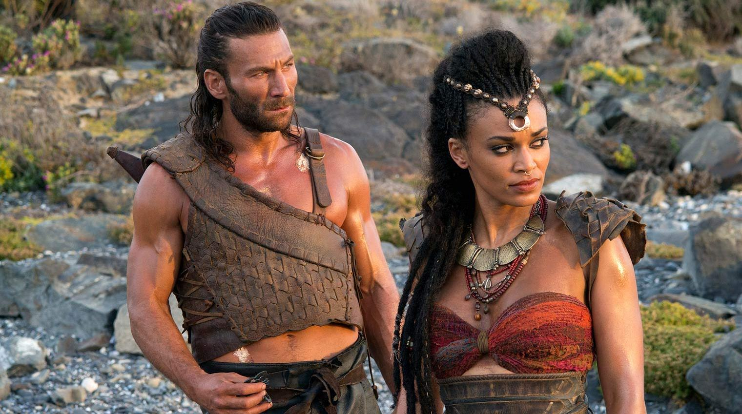 Zach McGowan as Mathayus and Pearl Thusi as Tala in Scorpion King: Book of Souls (2018)