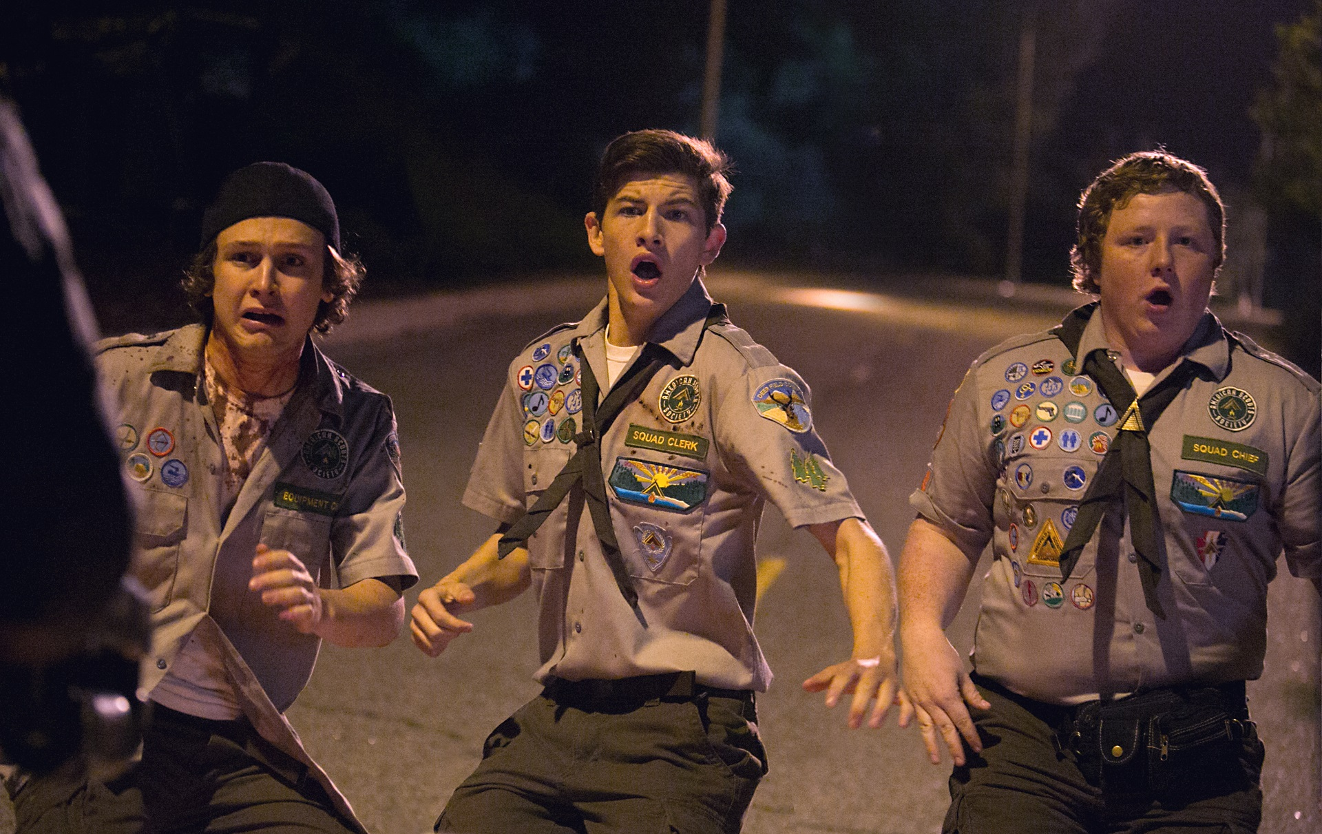Boy scouts (l to r) Logan Miller, Tye Sheridan, Joey Morgan in Scouts Guide to the Zombie Apocalypse (2015)