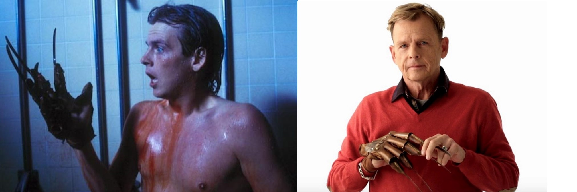 Mark Patton in 1985 in A Nightmare on Elm Street Part II: Freddy's Revenge and Mark Patton in 2019 in Scream Queen! My Nightmare on Elm Street (2019)