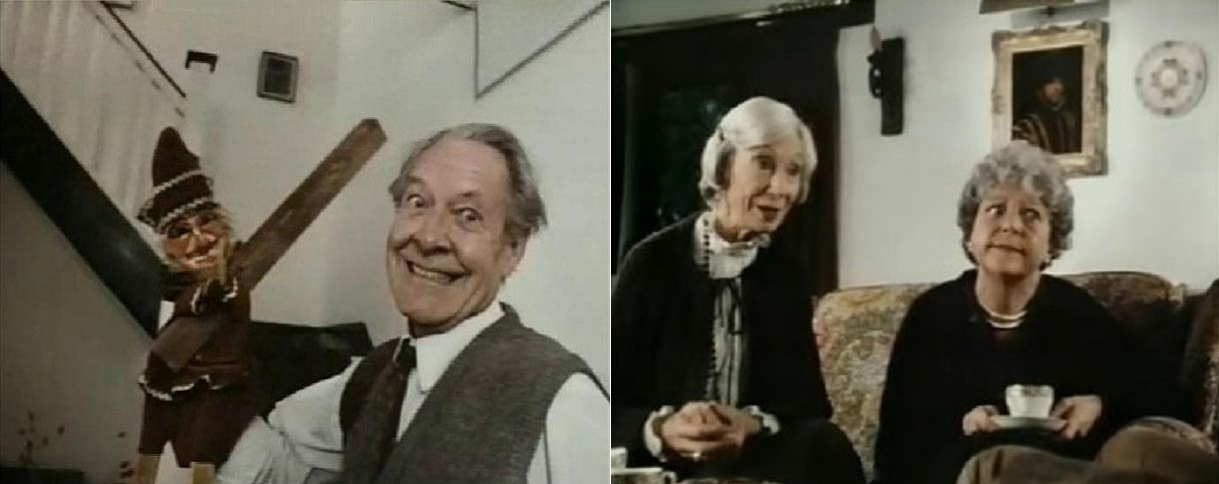 Robin Bailey with his Punch and Judy puppets; Jean Anderson and Dora Bryan as the old ladies in Screamtime (1983)