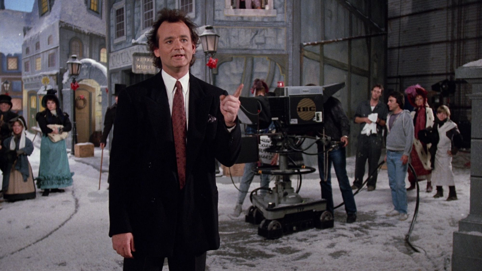 Bill Murray as tv network president Frank Cross, the equivalent of Scrooge in Scrooged (1988)