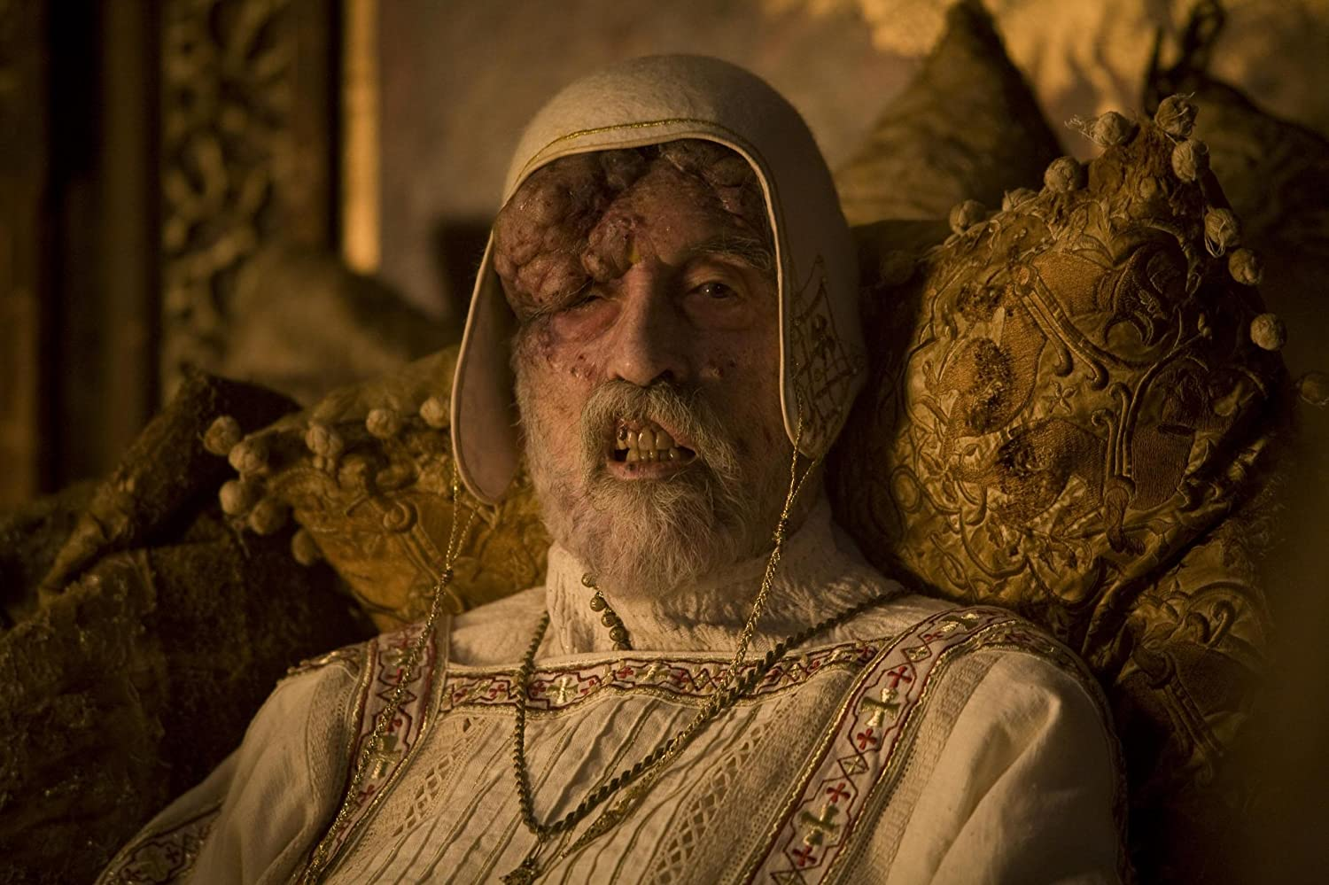 Christopher Lee as the plague-infected Cardinal D'Ambroise in Season of the Witch (2011)