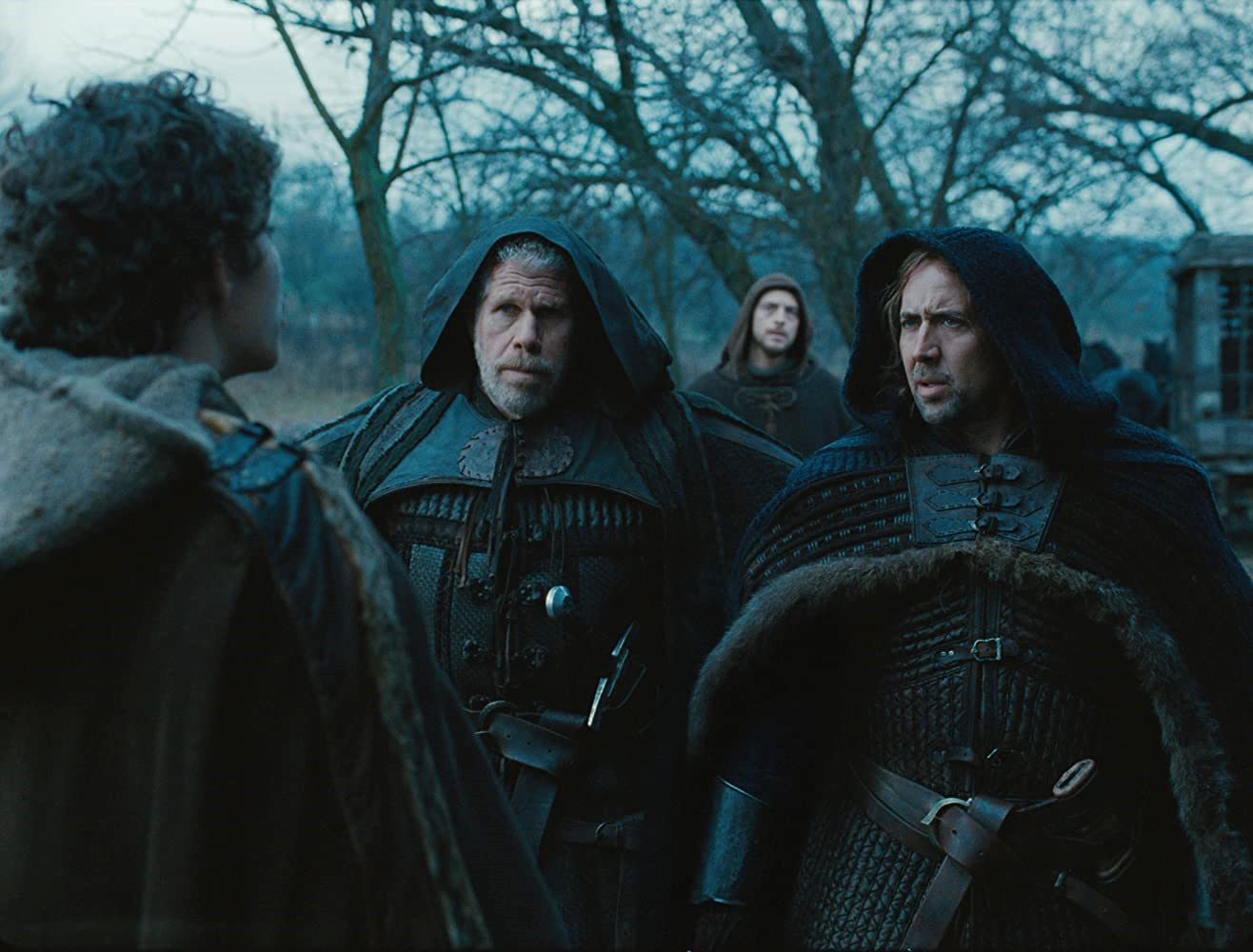 Kay (Robert Sheehan), Felson (Ron Perlman), Behmen (Nicolas Cage) and Debelzaq (Stephen Campbell Moore) in Season of the Witch (2011)