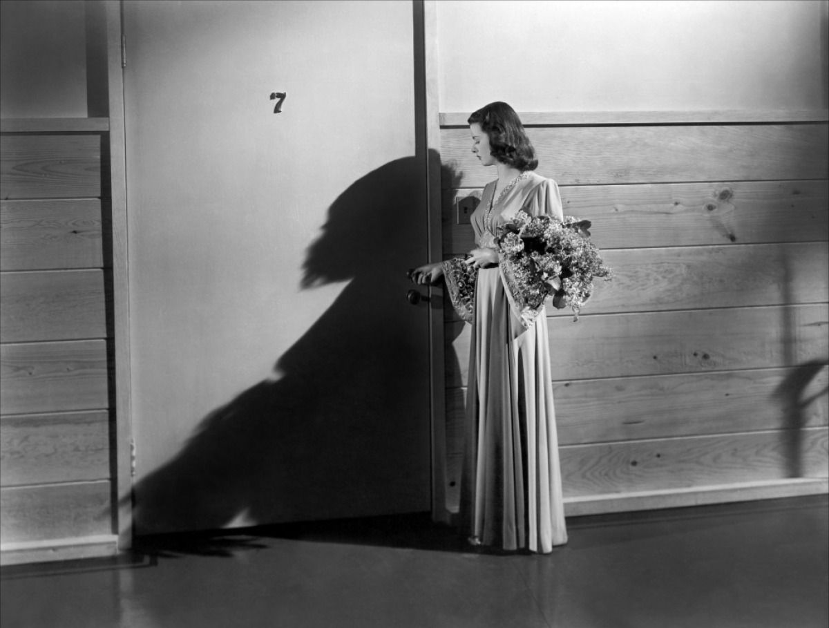 Joan Bennett approaches the seventh locked room in Secret Beyond the Door (1948)