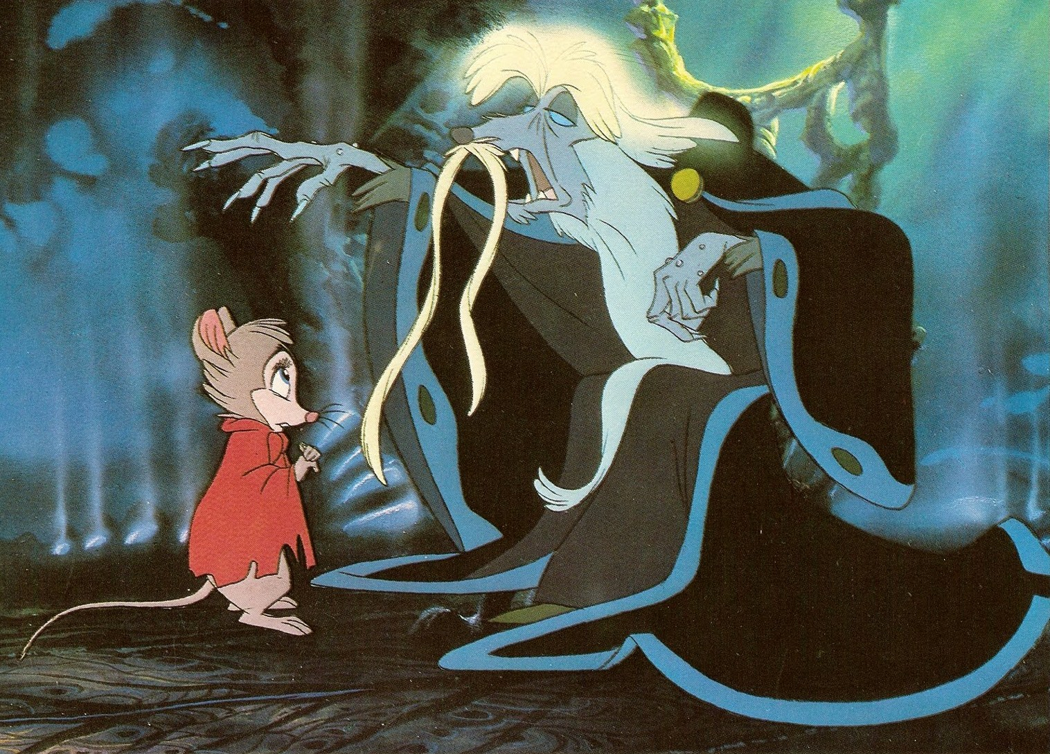 Mrs Brisby (voiced by Elizabeth Hartman) meets The Great Owl (voiced by John Carradine) in The Secret of N.I.M.H. (1982)