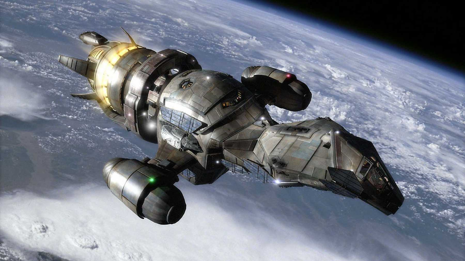 The spaceship Serenity in flight in Serenity (2005)
