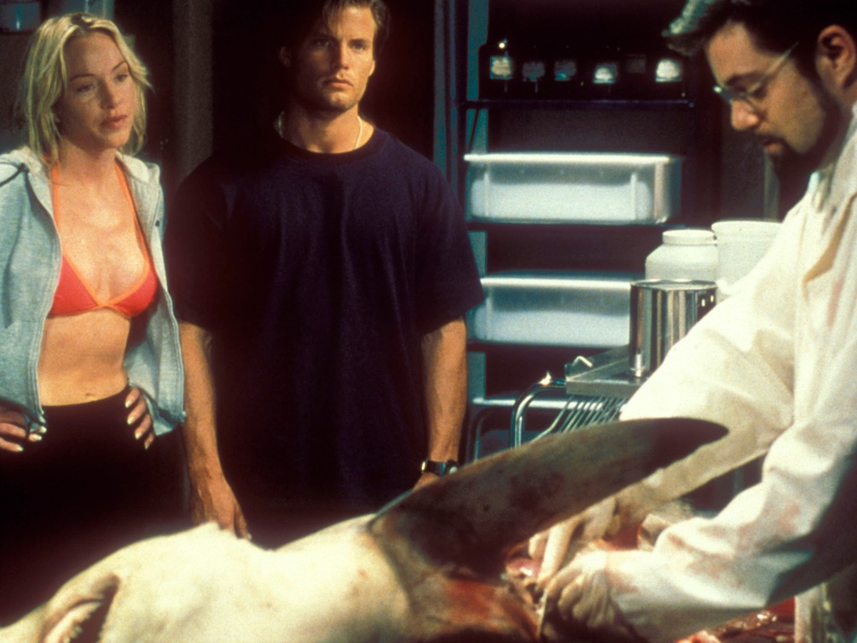 Jennifer McShane, Casper Van Dien and Bentley Mitchum examine a shark in Shark Attack (1999)