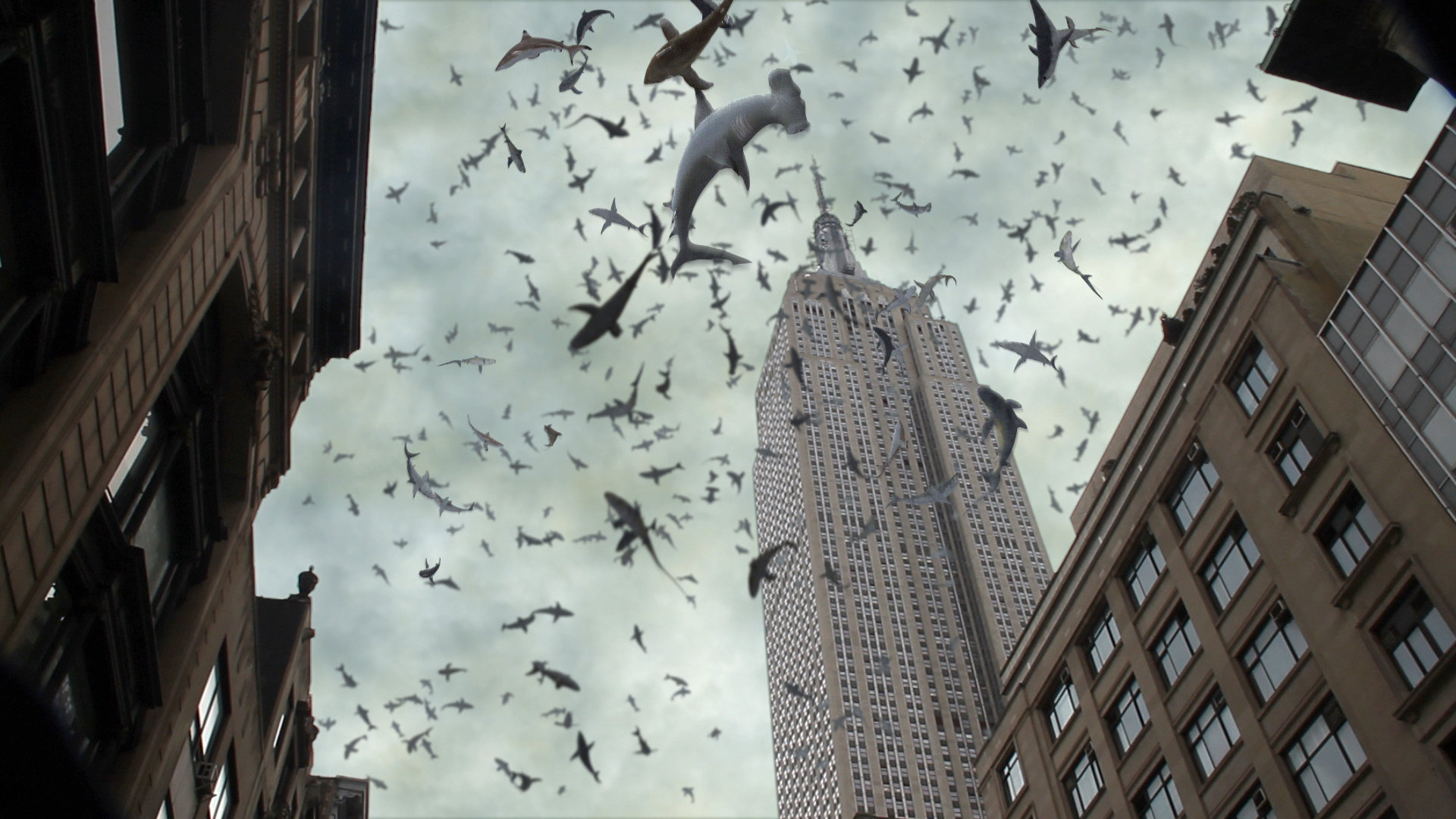 Sharks rain down on the streets of New York City in Sharknado 2 The Second One (2014)