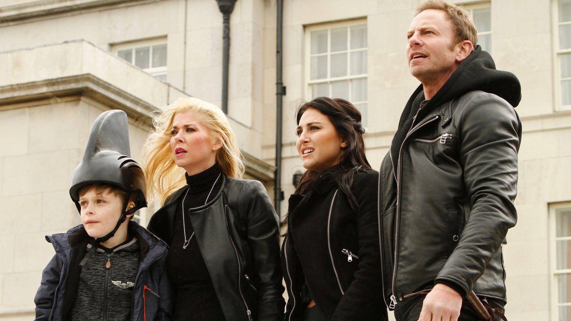 Gil (Billy Barrett), April (Tara Reid), Nova (Cassie Scerbo) and Fin Shepard (Ian Ziering) in Sharknado 5 Global Swarming (2017)