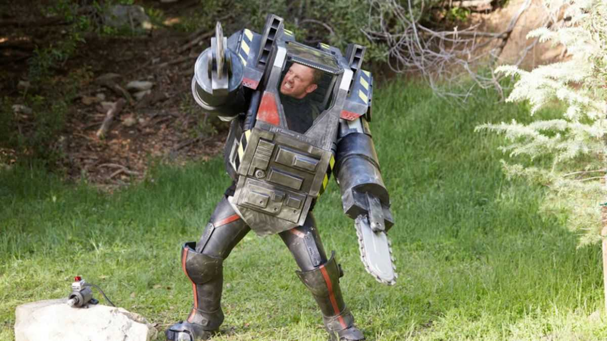 Ian Ziering in a transformer suit in Sharknado The 4th Awakens (2016)