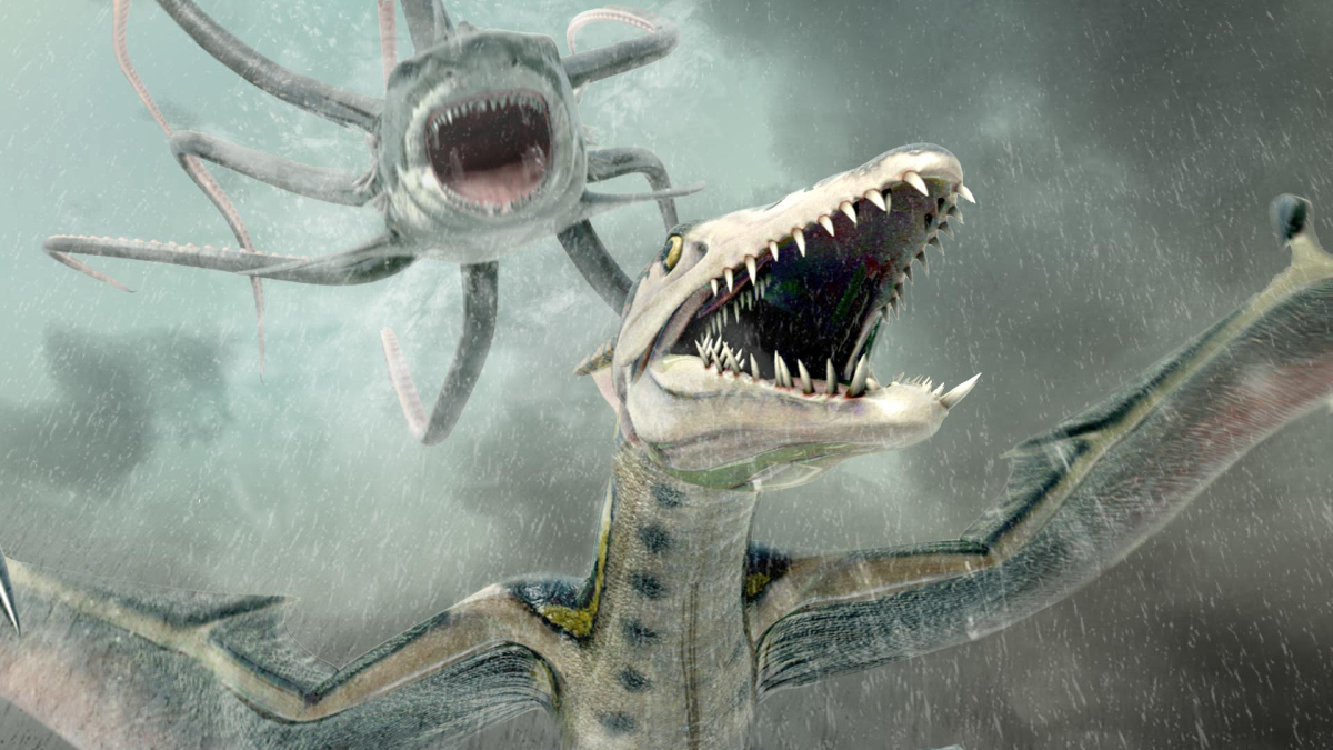 Sharktopus and Pteracuda in combat in Sharktopus vs Pteracuda (2014)