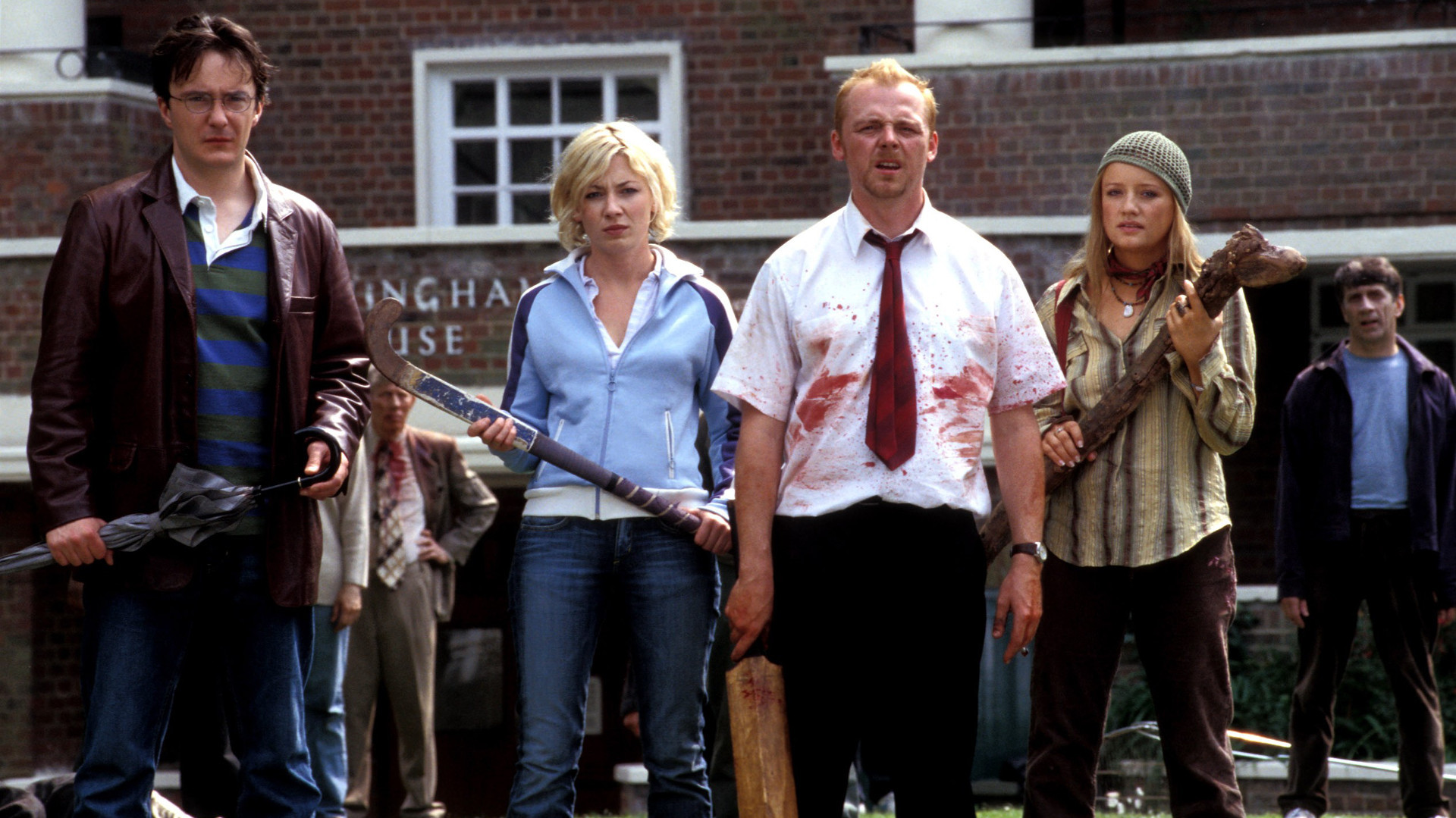 Dylan Moran, Kate Ashfield, Simon Pegg, Lucy Davis in Shaun of the Dead (2004)