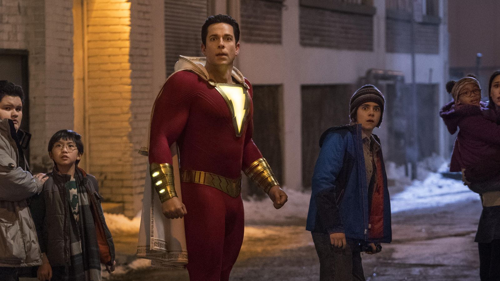 (l to r) Shazam (Zachary Levi) and his friend Freddy Freeman (Jack Dylan Grazer) in Shazam! (2019)