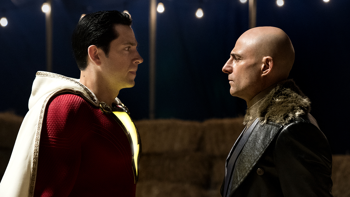 (l to r) Shazam (Zachary Levi) and super-villain Dr Thaddeus Sivana (Mark Strong) in Shazam! (2019)