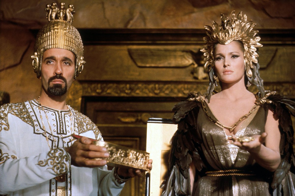 Ayesha (Ursula Andress) and her high priest Bilali (Christopher Lee) in She (1965)