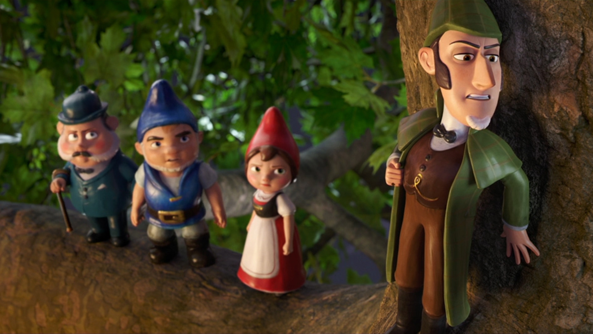 (l to r) Dr Watson (voiced by Chiwetel Ejiofor), Gnomeo (voiced by James McAvoy), Juliet (voiced by Emily Blunt) and Sherlock Gnomes (voiced by Johnny Depp) in Sherlock Gnomes (2018)