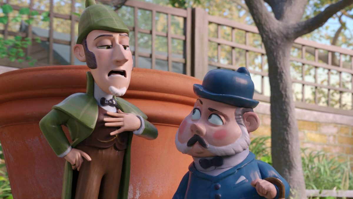(l to r) Sherlock Gnomes (voiced by Johnny Depp) and Dr Watson (voiced by Chiwetel Ejiofor) in Sherlock Gnomes (2018)