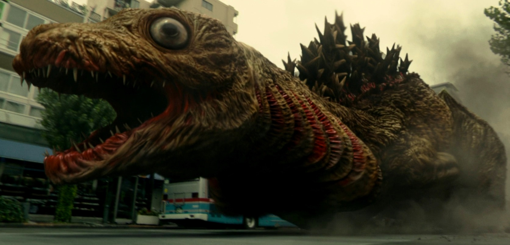The initial larval form of Godzilla emerges into the streets in Shin Godzilla (2016)