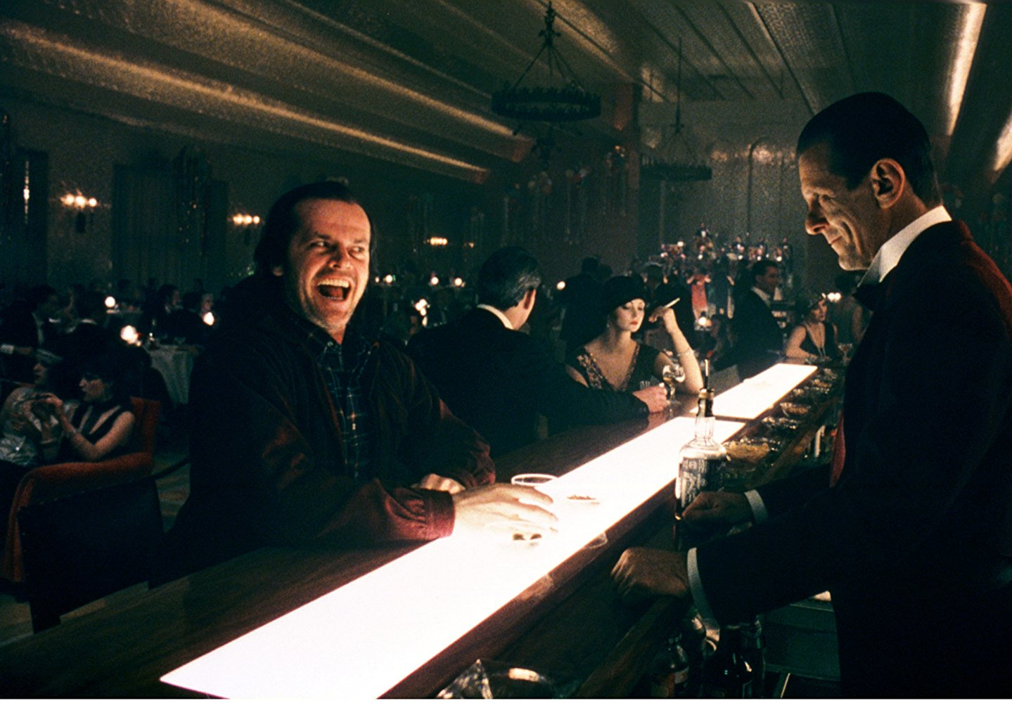 Jack Nicholson and barman Joe Turkel in The Shining (1980)