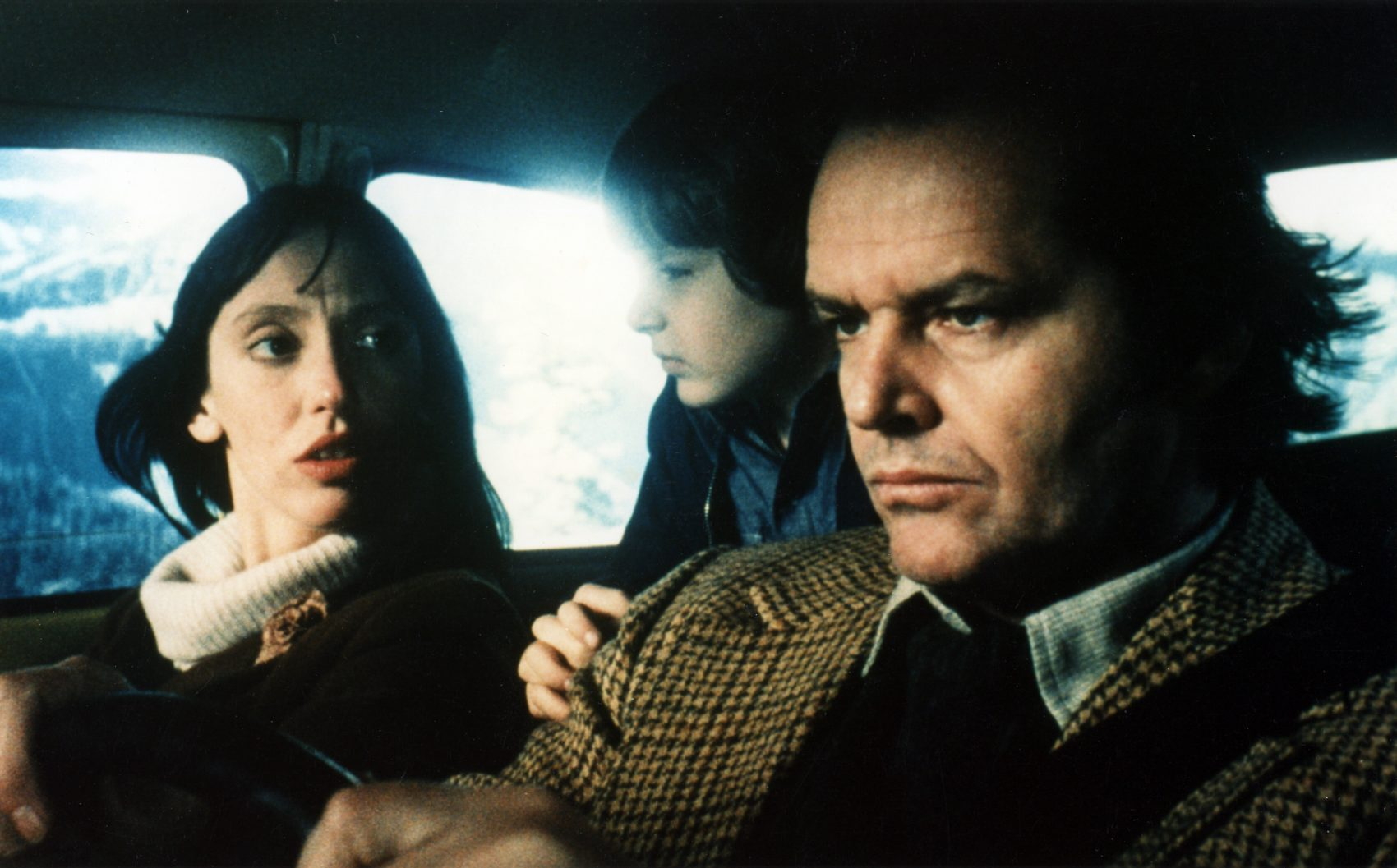 The Torrances on the journey to the Overlook - (l to r) Wendy (Shelley Duval), Danny (Danny Lloyd) and Jack (Jack Nicholson) in The Shining (1980)