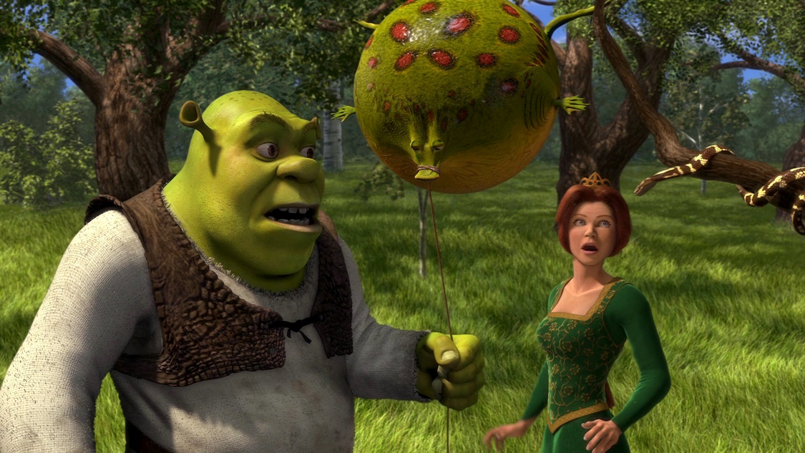Shrek (voiced by Mike Myers) holding animal balloon and Princess Fiona (voiced by Cameron Diaz) in Shrek (2001)