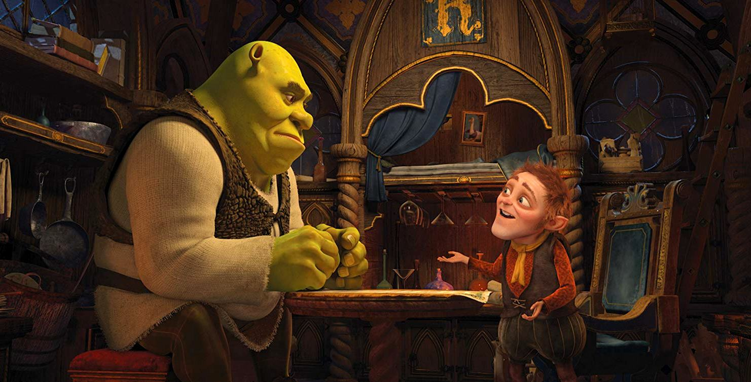 Shrek (voiced by Mike Myers) signs the contract with Rumpelstiltskin (voiced by Walt Dohrn) in Shrek Forever After (2010)
