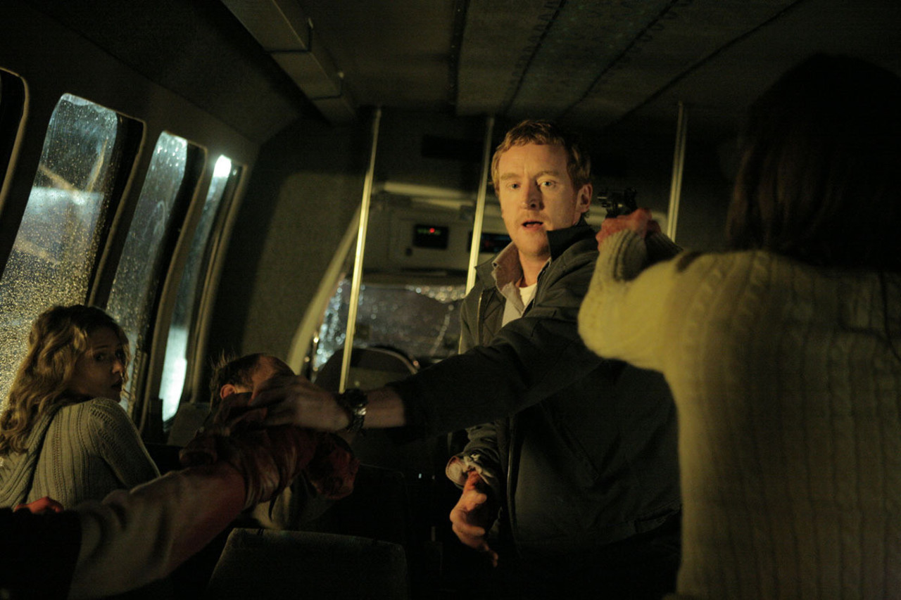 Abducted aboard an airport shuttle bus with driver Tony Curran being held at gunpoint in Shuttle (2008)