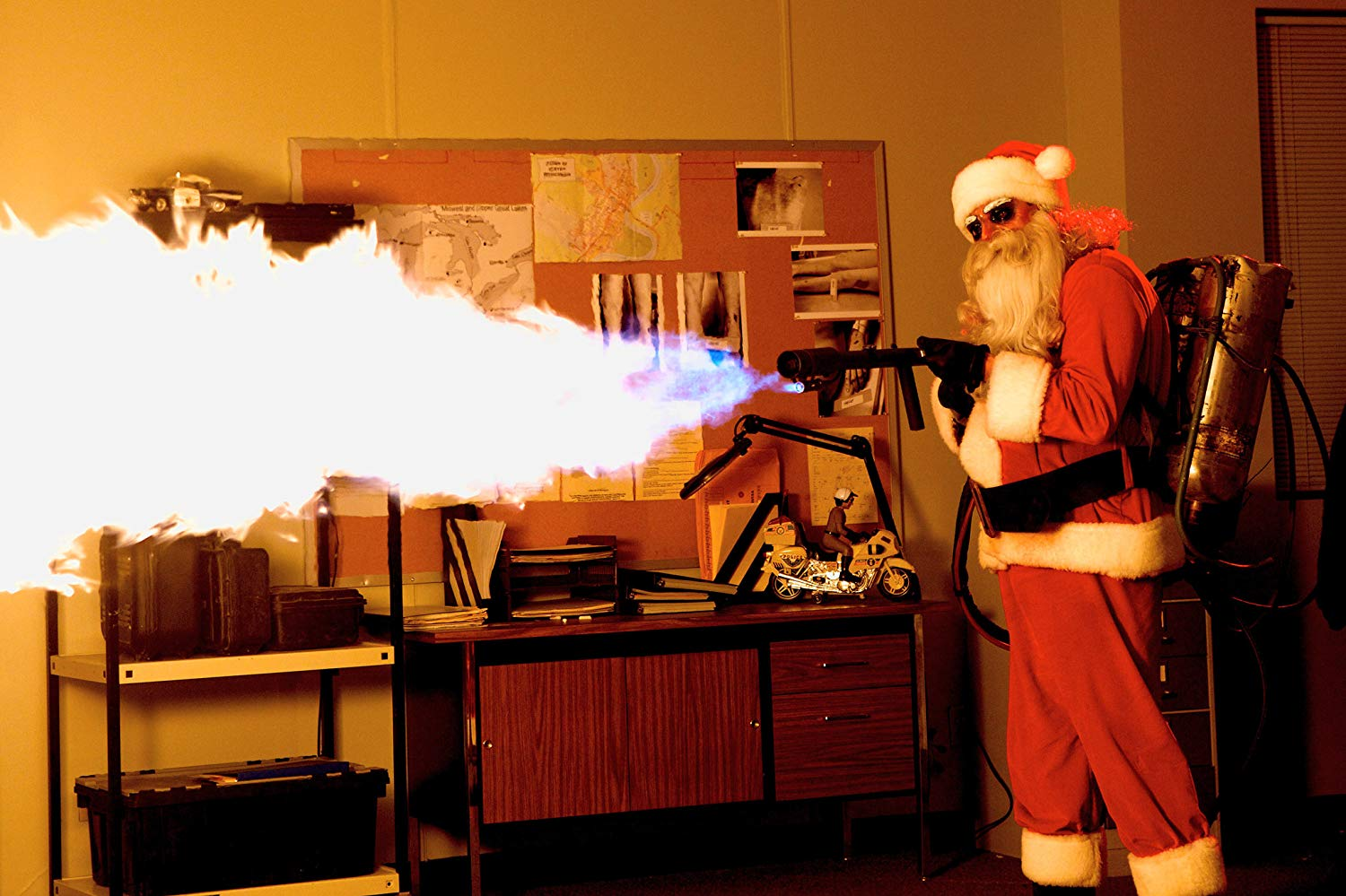 Psycho Santa with a flamethrower in Silent Night (2012)