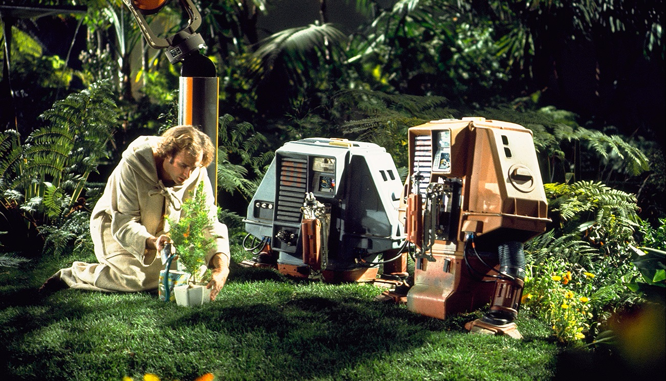 Intergalactic gardener Freeman Lowell (Bruce Dern) and robot companions in Silent Running (1972)
