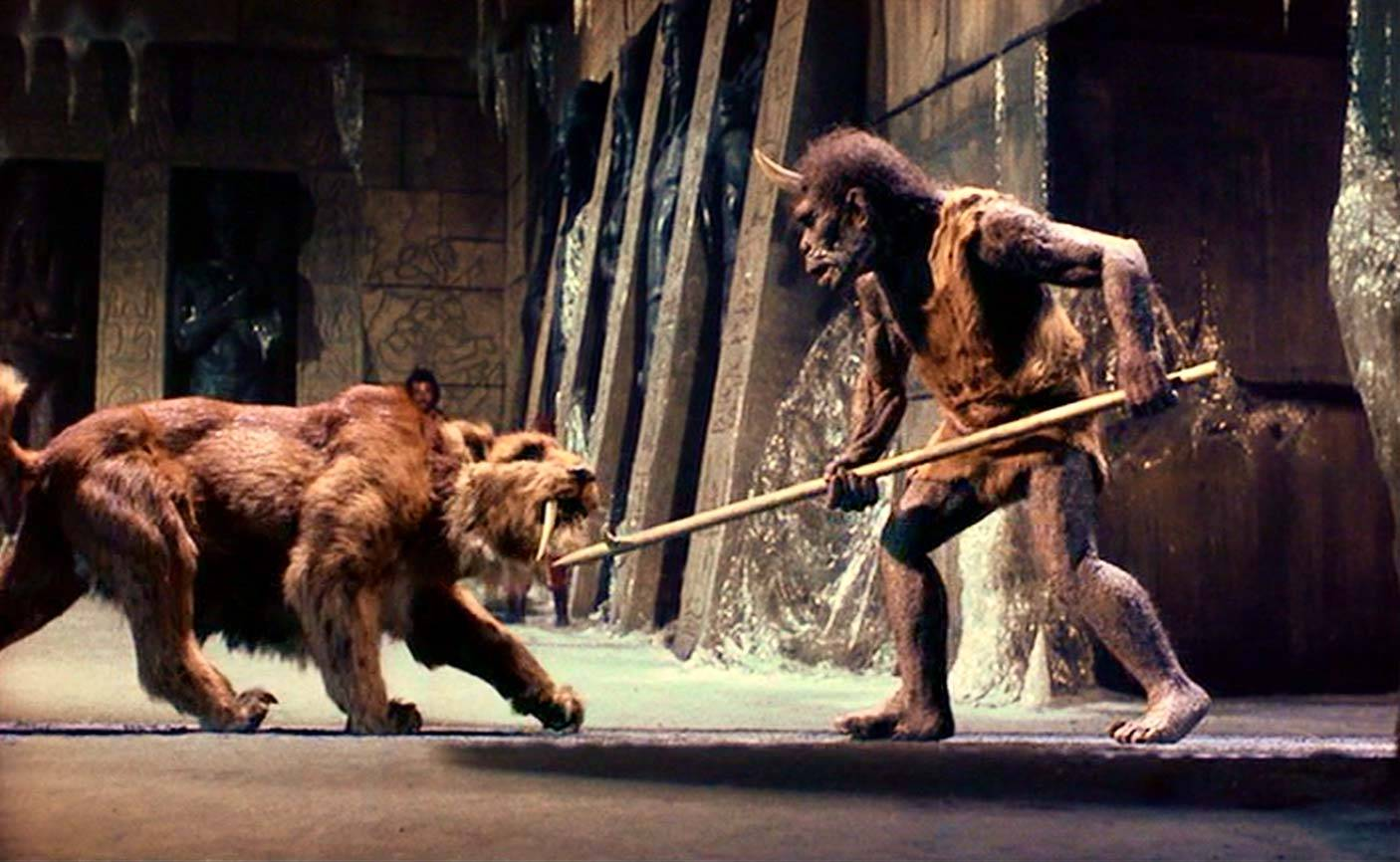 The sabre-tooth tiger vs the Trog in Sinbad and the Eye of the Tiger (1977)