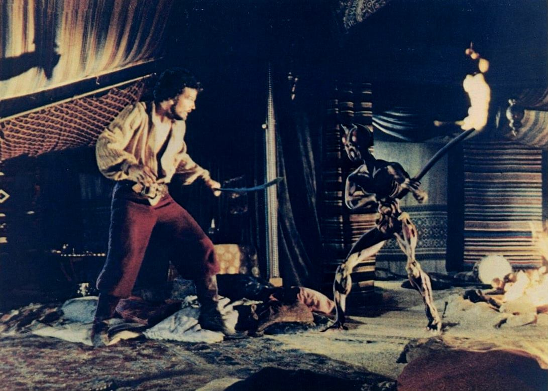 Sinbad (Patrick Wayne) fights one of the reanimated skeletons in Sinbad and the Eye of the Tiger (1977)